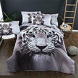 Parure de lit avec Housse de Couette Imprimé Animal Effet 3D Loup Tigre Blanc Bleu Violet Housse de Couette avec Taie d'oreiller Parure de lit Simple Double King Size (Tigre, 220X240cm)