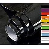 Hode Papier Adhesif pour Meuble Cuisine Porte Mur Stickers Meuble Vinyle Autocollants Meuble Rouleau Adhésif Décoratif Noir 40X300cm