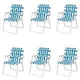 COSTWAY 6 PCS Chaises de Plage Pliantes Chaise de Camping Portable en Toile avec Accoudoirs en Acier en Forme de U,Support 120 KG pour Camping en Plein Air/Plage/Parc (Bleu)