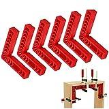 CDIYTOOL Lot de 6 serre-joints carrés de positionnement de 10,2 cm, pince à angle droit à 90 degrés, outil de menuiserie de type L pour cadres photos, boîtes, armoires, tiroirs, outils de charpentier