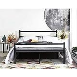Aingoo Cadre de Lit Double en Métal Cadre de lit Adulte avec Lattes Métallique pour Adulte et Chambre d'enfants Lit 140x190cm, Noir