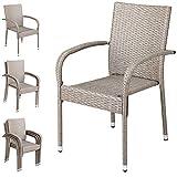 Casaria Lot de 4 chaises de Jardin empilables en rotin synthétique - avec accoudoirs à Dossier Haut - Résistantes aux intempéries - Beige et Gris