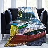 Aliciga Couverture de Lit,Lac de Bohinj avec des Bateaux Parc National du Triglav Julian Slovénie,Canapé de lit Toutes Saisons en Microfibre Couverture,50' x 60'