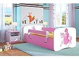 Bjird Lit d'Enfant Complet 70x140 80x160 80x180 sommier tiroir barrierères pour Filles garçons lit Simple - Rose - Princesse à Cheval 80 x 160 cm