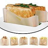 DECARETA 6 pcs Sac pour Grille-Pain Réutilisables Sacs à Toasts Résistance à Haute Température Sac de Cuisson pour Grille-Pain, Micro-Ondes,Four, Grill(16 * 16cm)