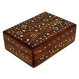 Ajuny Boîte à bijoux décorative vintage en bois sculpté à la main avec incrustation en laiton - Motif floral