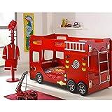Vipack Pompier LIT SUPERPOSE Rouge, MDF