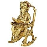 Statue Indienne en Laiton - Art Hindou - Dieu de Ganesha Assis sur Une Chaise à Bascule et Lecture d'un Livre 15,2 cm