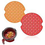 Doublures Pour Friteuse Sans Huile, Tapis de Panier de Friteuse à Air en Silicone sans BPA et Réutilisable 2 Pièces (9 Pouces)