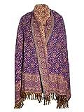 Écharpe d'hiver épaisse en pure laine de yak Pashmina pour homme et femme - Violet profond