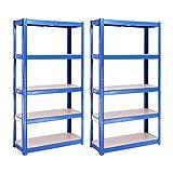 Rangement Garage: 150 cm x 75 cm x 30 cm | Deux unités, Bleu - 5 Niveaux | 175 kg par tablette (Capacité Totale de 875 kg) | Garantie de 5 ans