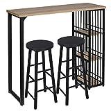 WOLTU 1 X Table de Bar Table de Bistrot avec 3 tablettes + 2 X Tabourets de Bar Structure en métal Plateau en MDF,Chêne Clair+Noir BT26hei+BH130sz-2