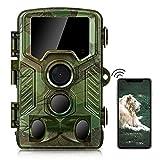 COOLIFE WiFi Bluetooth Caméra de Chasse 4K 32 MP Distance de Déclenchement 25m Vitesse de Déclenchement 0.1s Caméra Chasse Infrarouge 49 pcs 850nm IR LEDs Camera de Chasse Nocturne avec Carte 32G