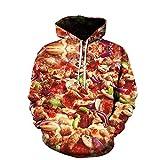 WAPDRY Réaliste 3D Creative Gourmet Fast-Food Burger Frites Pizza Imprimer Sweat, Poche Avant Loose Fit Cool Hoodies, Tenues Automne Hiver Outwear-E_6XL