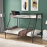 Cadre de lit superposé en métal pour chambre d'enfant Noir 90 cm