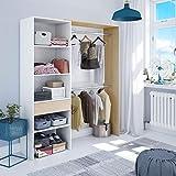 DRESIO - Armoire Dressing avec étagère de 60cm, 2 penderies et 1 tiroir. Style scandinave