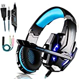 Micro Casque Gaming PS4, Casque Gaming Switch avec Micro Anti Bruit Casque Gamer Xbox One Filaire LED Lampe Stéréo Bass Microphone Réglable avec Micro 3.5mm Jack (Bleu-1)