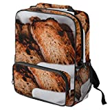 TIZORAX Sac d'école pour filles garçons et étudiants Sac à livres grillé pain grillé pour femme Sac à dos de voyage décontracté Sac à dos de voyage randonnée Camping