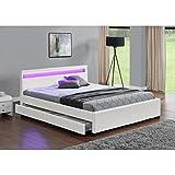 CONCEPT USINE Lit Enfield - Structure de lit en Simili Blanc avec rangements et LED integrees - 140x190 cm