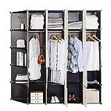 WOLTU SR0102she DIY Armoire Plastique Chambre Faite de modules avec 4 Tringle à vêtements pour Le Stockage de vêtements, Accessoires, Jouets, Livres,Chaussures,13 Cubes XXXL Noir