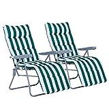 Outsunny Lot de 2 Chaise Longue Bain de Soleil Adjustable Pliable transat lit de Jardin en Acier Vert + Blanc