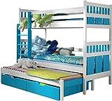 Lit superposé triple pour enfants - MAX - En bois de pin massif naturel avec matelas et tiroirs - Blanc/Turquoise