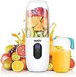 Portable Mixeur des Fruits, 500mL Mélangeur Portable, 4800mAh batterie rechargeable USB qui peut aussi être utilisée comme source d'énergie mobile, six lames 3D pour smoothies, fruits, milkshakes