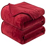 HOZY Plaid Couverture Polaire Epaisse 150x200cm Rouge Doux et Chaude - 350GSM Couverture de Lit et Jeté de Canapé Flanelle - Réversible Double Face