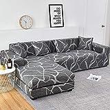 Housses de canapé en Forme de L pour Salon Housse de canapé élastique Housse de canapé Housse de canapé d'angle Extensible Chaise Longue A16 3 Places