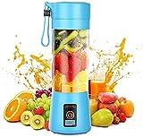 Mélangeur Personnel, Portable Blenders Gobelet Mélangeur de Fruits électrique Mixeur de Jus USB, Rechargeable, 6 Lames en 3D Pour un Superbe Mélange, 380 ml (Bleu)