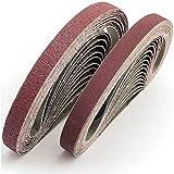 FEIHU Bande abrasive 13x457 mm.5 sortes de gravier mixte (6X40 /80/120/180/320).Ensemble de Bandes Abrasives,pour Black & Decker Powerfeileponceuses à bande(30 pièces)