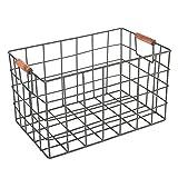 HYLH Simple Wrought Iron Storage Basket Desk Desk Desktop Document Magazine Snack Fruit Storage Basket Desktop Expanding File Organiser (Size : S)