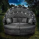 BRAST Canapé de Jardin Exterieur en resine Canapé de Jardin Rond en rotin tressé en Gris/Gris -foncé 210cm avec LED+Housse, auvent Pliable modulable Table réglable en Hauteur