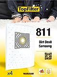 TopFilter 811, 4 sacs aspirateur pour Samsung et Dirt Devil boîte de sacs d'aspiration en non-tissé, 4 sacs à poussière (30 x 26 x 0,1 cm)