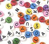 Lot de 150 perles lettres en plastique - Rondes - 7 mm - Mix de plusieurs couleurs - Pour bracelets, colliers, porte-clés et bijoux pour enfants - D109