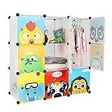 Bamny Meuble Rangement Enfant 9 Cubes, Support de Rangement pour Vêtements, Chaussures, Armoire de Rangement Bricolage avec 1 Portemanteaux et Motifs d'animaux (Blanc)