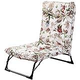 Lit de Soleil Chaise de Jardin inclinable Inclinable Ajustable Chaises Longues avec Coton matelassé Chaises Sling Pliant pour Balcon Assis et couché à Double Usage