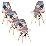 GrandCA Home Ensemble 4 Chaises,Chaises Patchwork,Chaises de Salle à Manger,Chaises Loisirs Salon,Chaises avec Dossier à Coussin Souple (Rouge)