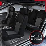 DBS - Housses de siège sur Mesure pour Logan/Sandero/Stepway (01/2013 à 2021) | Housse Voiture/Auto d'intérieur | Haut de Gamme | Jeu Complet en Tissu | Montage Rapide