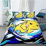 Tomifine Pokemon Parure de lit avec Pikachu Motif Housse de Couette 135 x 200 cm et 2 taies d'oreiller 50 x 75 cm avec Fermeture Éclair - Microfibre (Pika-K,200 x 200 cm)