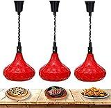 3 Pack Food Chauffage Lampe chauffante Lampe de préservation de chaleur Commercial Tête Simple Tête Suspension alimentaire Lampe de chauffage Buffet Barbecue Cuisine Cuisine Cuisine Cuisine 250W 110V