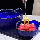 Ensemble de saladier en verre transparent pour la maison et la cuisine, fruits et légumes, avec bords dorés - Couverts irréguliers - Bleu marine - 2 m