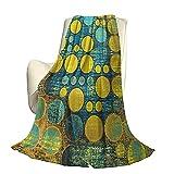 Polka Dots Fluffy Plush Soft Couverture Chaude confortableMotif à Pois dans Le Style des années 60 Vintage Groovy Seem Circles and Points Print Housse de Couette de Luxe pour climatisation L