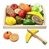 CARLORBO Jouets en bois Jeux de simulation de nourriture pour enfants Cuisine, jeux de rôle Jouets éducatifs à fruits et légumes magnétiques pour garçons et filles de 3+ ans