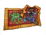 India Colors. Chemin de table, nappe décorative, pied de lit, tapisserie ou tissu à accrocher au mur.Tissus brodés avec des incrustations. Concevoir des éléphants. Première qualité (Rouge-Jaune)