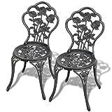 Festnight Chaises de Table de Jardin 2 pcs Vert 41x49x81,5 cm Aluminium
