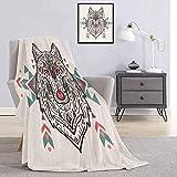 Couverture pour enfant Tribal Charmant Tête de lion comme de loup avec motif cachemire imprimé léger, doux et confortable 70 x 90 cm Perle Corail et Bleu sarcelle