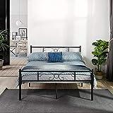 Symylife Lit Double, Cadre de lit en métal, avec Lattes Solides et Structure en métal, pour Enfants, Adultes et Adolescents, pour Matelas de 140 x 190 cm, Noir