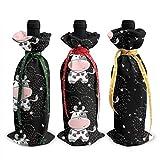 Vaches moelleuses animaux de ferme 3 pièces de noël couvercle de bouteille de vin décoration sacs pour noël nouvel an fête décoration