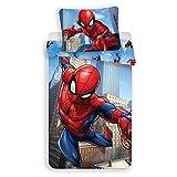 Marvel Spiderman Parure de Lit 2 pièces - Housse de Couette 140x200 + Taie d'oreiller 70x90